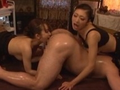 Two Japanese women show their rimjob and blowjob aptitude at hand a man