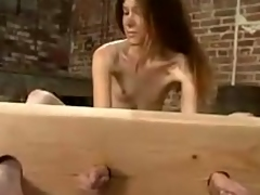 Skinny Ashley receives covered with wax and pushed