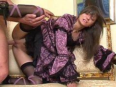 Sweet stylish Lola in classics dress having sex