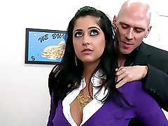 Super Busty Brunette Office Slut Kimber Kay Gets Fucked and Facialized