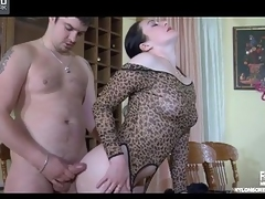 Lewd playgirl puts on cheetah transcribe stockings downward out of supervise in hot quickie