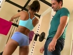 Sporty lowering beauty Staci Ellis gets fucked yon many positions yon a gym