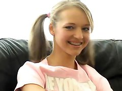 Nice-looking Pigtailed Golden-haired Teen Dildoes Her Ravishing Pussy