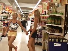 Two lesbians masturbates in public by B91