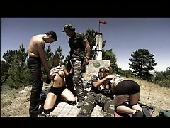 Sexy Blonde Soldiers Get Outnumbered In An Outdoor Group Sex