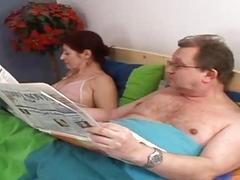 Concupiscent granny sucking old penis in the bed