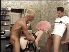 French hairdresser gets a good hard ride and DP while customer dries hair
