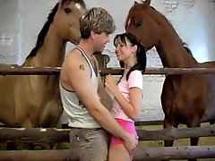 Hardcore Anal-copulation With Sndy Joy In The Stables With Horses Watching
