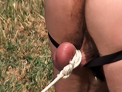 Hawt Cowboy Ties His Male Slave To The Ground For Sexual Fun...