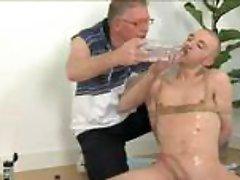 Perverted older man and fastened bald twink