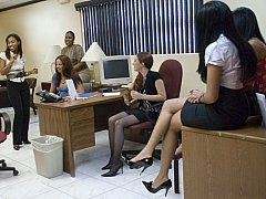 Office sweethearts getting hardcore with male striper