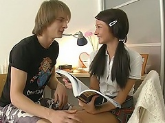 Horny guy came to this sweet student to help her with the English...
