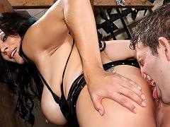 Slave enjoys licking his mistress hole and being slapped!...