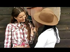 Lesbian Cowgirls Claudia Rossi and Simonne Style Fuck In Three-some