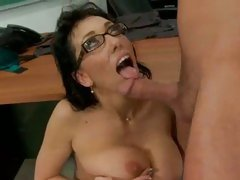 Teacher Alia Janine receives a drink of hot sticky student cum in mouth.