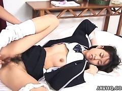 Wife sucks on ebony dick as husband watches