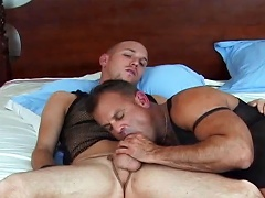 Married guy is tempted to try homo sex with a very hot male...