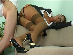 Strict looking office babe takes a hard offer gagging on meat for...