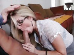 Naughty Angela Attison sucking cock in the office