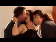Smoking Brunette IN A Threesome With 2 Big Cocks