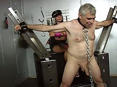 Two horny slut tortured a classic man !