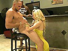 Young cute blonde takes facial jizz shot for money