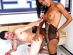 Hot latina shemale enjoys her dick and a dick in her asshole...