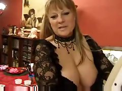 Fat mature with giant tits has group sex