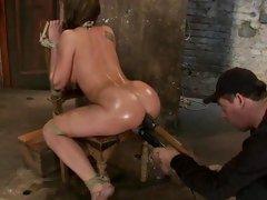 Amy Brooke hog tied then a huge dildo rammed in ass