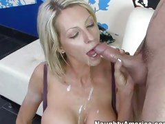 Mature babe Emma Starr enjoys river of cum flowing down her throat