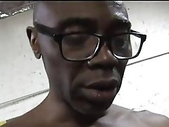 Cuckold blonde in sexy lingerie sucks big fat black cock