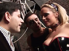 Two sex-hungry dudes fuck one cheap whore in corset and stockings