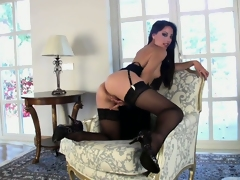 The black color dominates in sexy underclothes of a lightsome lady