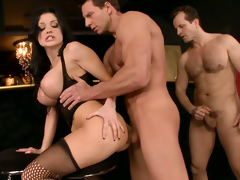 Glorious brunette babe Aletta Gobs pleases 3 hot hunks in the bar