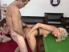 Billiard game is not enough for this nasty whore Cara Lott to enjoy,...