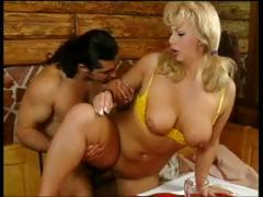 Sexy, busty MILF, Christine, sucks and fucks cock for her porn audition.