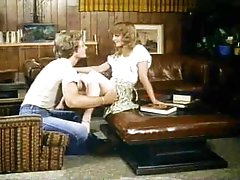 Blown by two beautiful girls in retro video