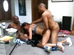 Venus enjoys a double filling from 2 black cocks