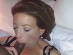 Dark haired bosomy home wife in corset was wanking my black strong cock