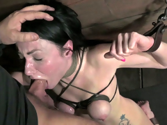 Blind folded and thonged jet-black hair Veruca James gets her throat drilled