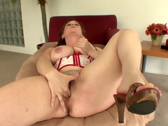 Ablaze riding cock fondling her beamy zeppelins as this babe fingers her pussy then gets drilled doggystyle