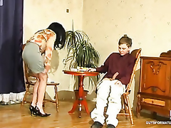 Offbeat mother i'd like up fuck tricking younger waiter into cowgirl riding on his rocky invoice