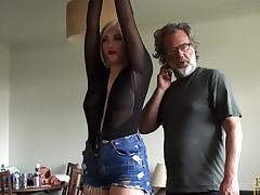 Blocked up UK slut throated in the air dildo