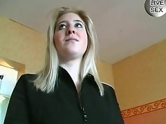Chary golden-haired German girls gets taught to masturbate