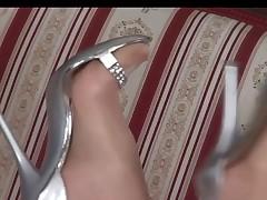 grey clothes pantyhose silver boots