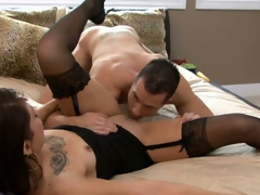 Sexy malignant haired  bitch in nylons gets pleased around stout cunnilingus