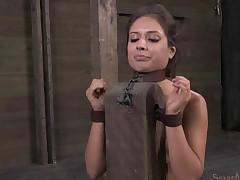 Tattooed bondage slave stripped seductively in BDSM shoot