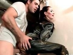 Slut in satin pants and blouse fucked hard
