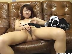 Pantyhose and satin pants babe masturbates tenderly