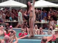 Pool troop sweethearts strip as they dance for the crowd